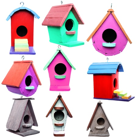 wooden bird house isolated on white background  photo