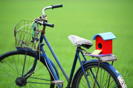colorful bird house on old bicycle  photo