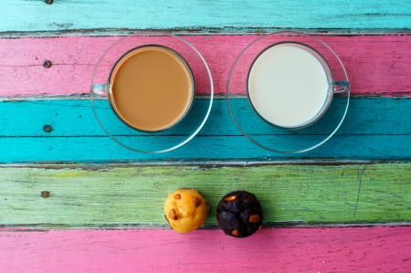 table surface: coffee and milk on colorful panel Stock Photo
