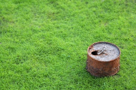 rusty can on young grass field,shallow DOF