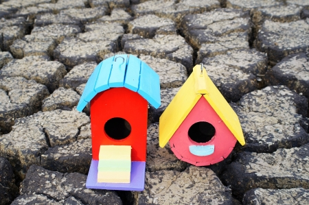 crack house: colorful bird house on crack soil. Stock Photo