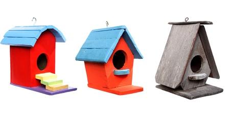 bird house: wooden bird house isolated on white background