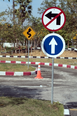 overtaking: traffic sign on street  Stock Photo