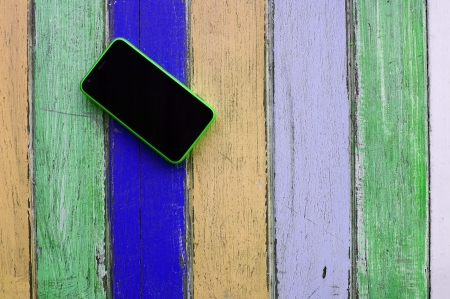 smart phone on colorful background  photo