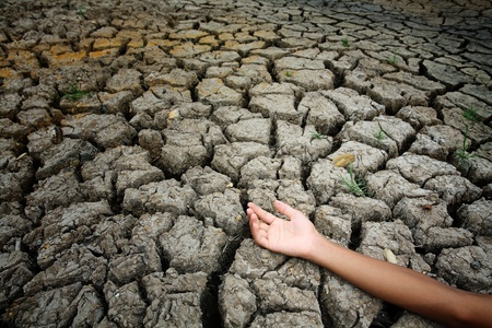 global warming: hand on dry land