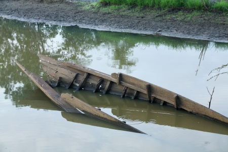 sunk: sunk boat in canal. Stock Photo