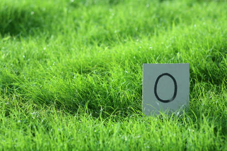 number zero card on young grass field  photo