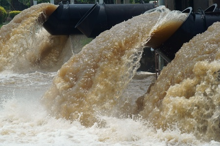 pollution water: large water pipe for relief flooding in thailand