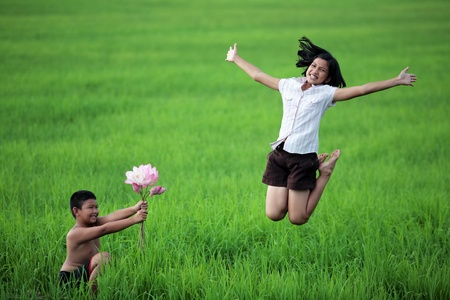 boy give flower to girl  photo
