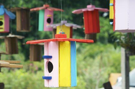 dof: colorful bird house,shallow DOF