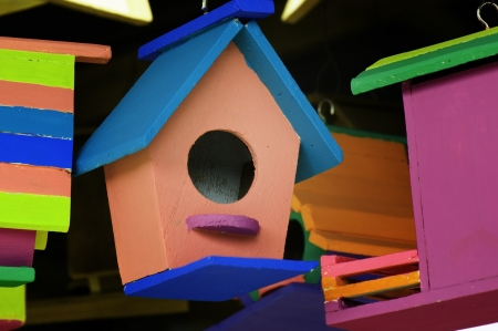 colorful wooden birdhouse  photo