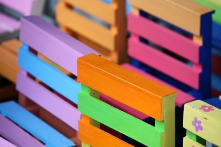 garden furniture: Multi-colored benches Stock Photo