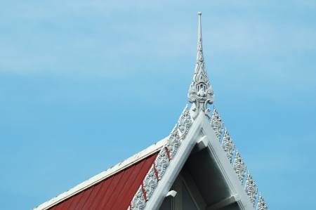 thai temple roof against blue sky  photo