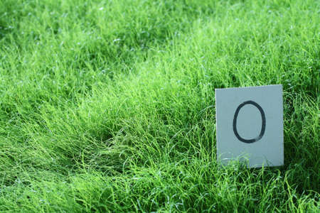 number zero card on young grass  photo
