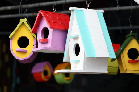 colorful bird house. photo