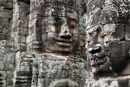 Faces of King Yayavarmann VII on the beautiful Bayon temple, Angkor Wat, Cambodia