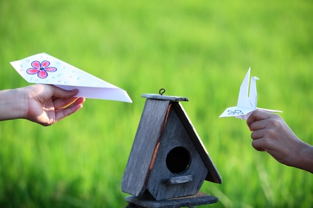 hand holding paper toy with bird house  photo
