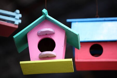 colorful bird house  photo