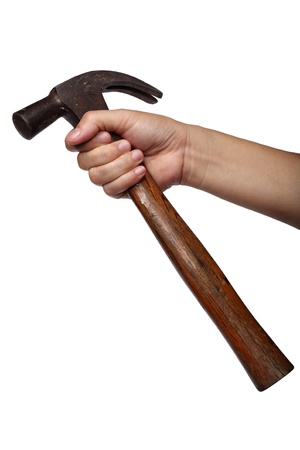 hand holding hammer isolated on white background photo