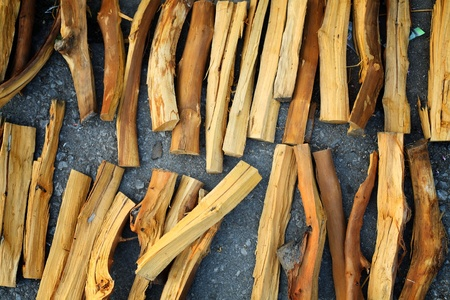kindling: row of firewood  Stock Photo