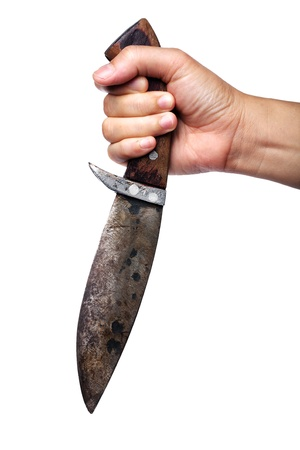 hand holding knife isolated on white background photo