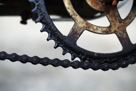 dirty bicycle chain  photo