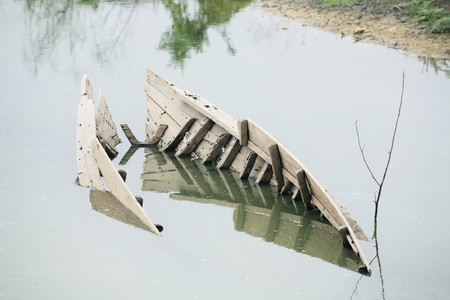 shipwreck in canal Stock Photo - 21820291