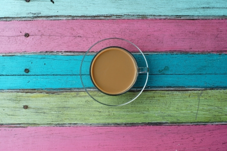 coffee on colorful wooden background  Stock Photo - 21949091