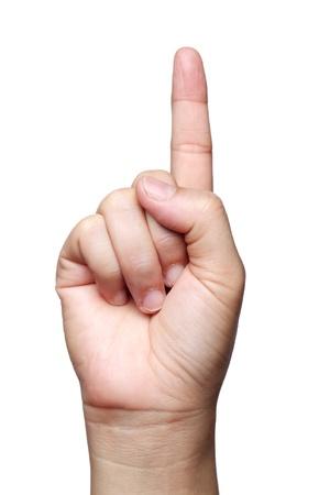 dedo me�ique: primera muestra de la mano aislados sobre fondo blanco Foto de archivo