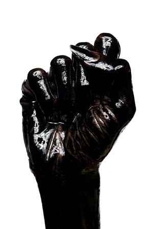 dirty fist isolated on white background  photo