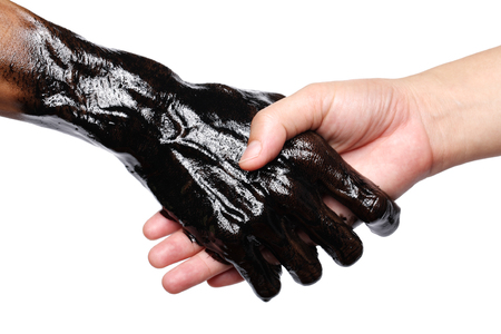 dirty hand shake with beautiful hand isolated on white background  photo