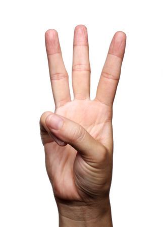 vrouwelijke kant toont drie vingers geïsoleerd op witte achtergrond