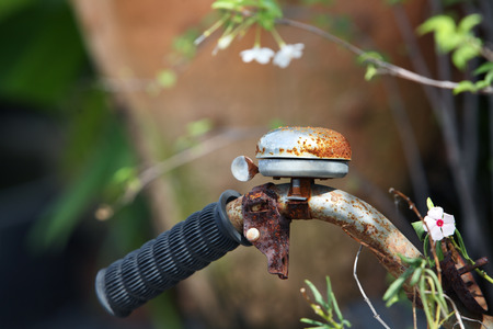 Detail of a Rusty Bicycle Handlebar  photo