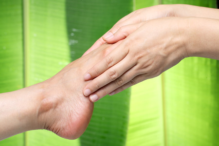 foot massage with green background. Stock Photo - 24131782
