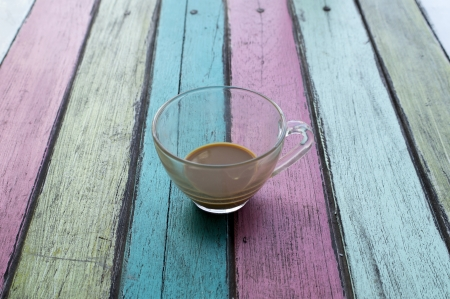 coffee cup on colorful wooden panel. photo