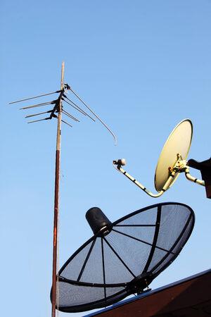 sattelite: tv antenna and sattelite dish
