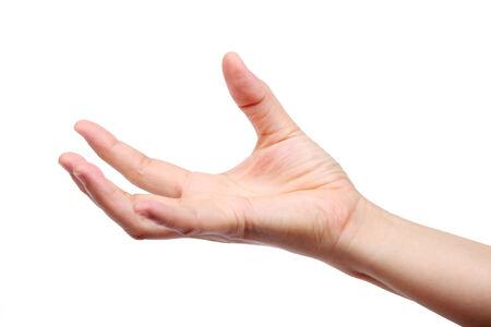 hand holding isolated on white background. photo