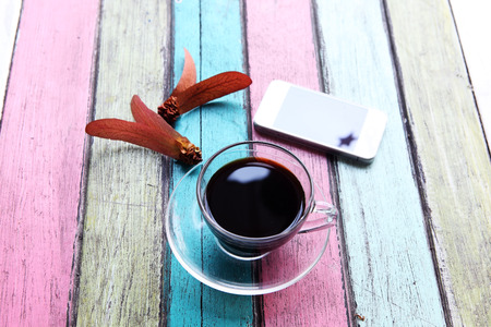 coffee on colorful table photo