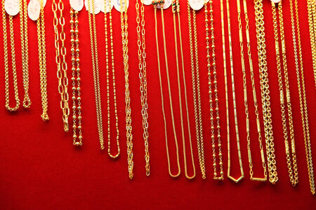 display of gold necklace photo