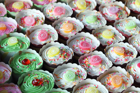 cup cake background Stock Photo
