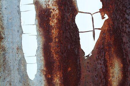 close up of grunge rusty zinc wall photo