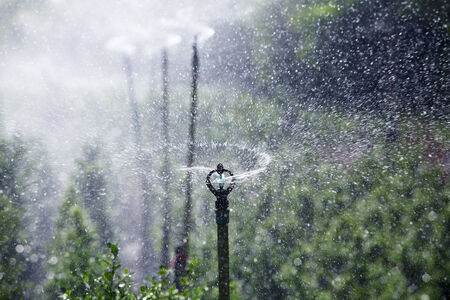 silhouette of water sprinkler splash background. photo