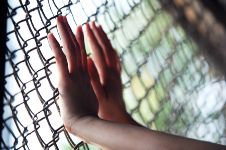 behind bars: hand in jail
