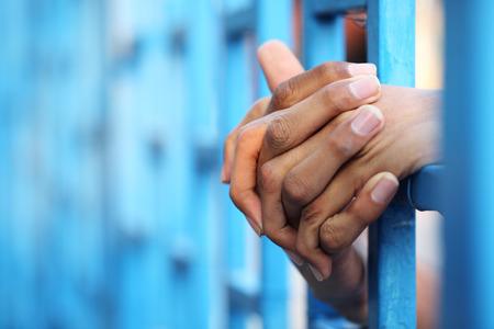 derecho penal: preso en la c�rcel Foto de archivo