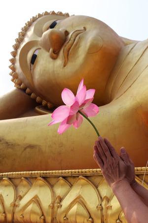 cabeza de buda: mano dar resecar por la flor de loto de la imagen de Buda
