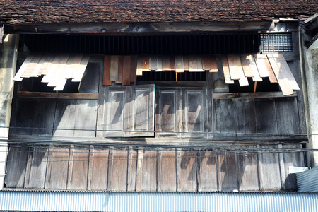 weathered: weathered wooden panel house