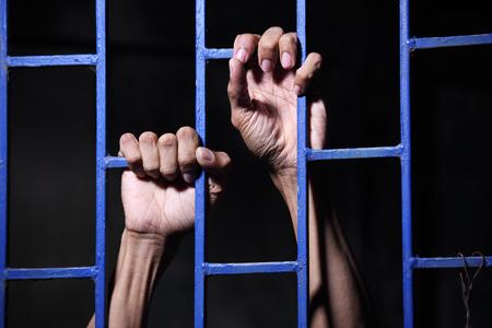 preso: preso en la cárcel Foto de archivo