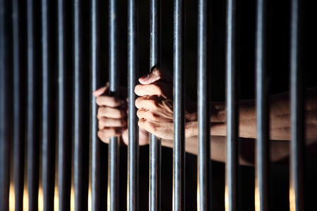 preso: preso en la c�rcel Foto de archivo