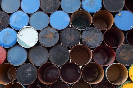 brent crude: rusty oil barrel background. Stock Photo