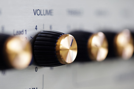 volume knob: volume knob on guitar amplifier